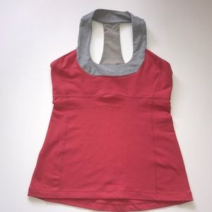 Lululemon scoop neck tank pink and gray